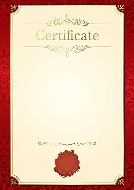 ilustraciones, imágenes clip art, dibujos animados e iconos de stock de marco retro vector de plantilla de certificado - marcos de certificados y premios