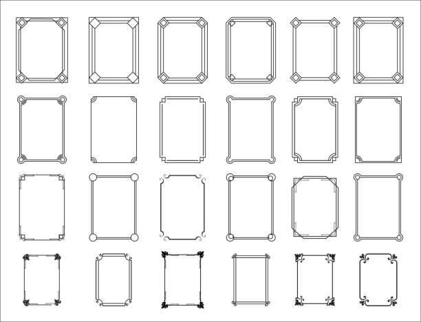 復古框架集。裝飾裝飾框架與花卉華麗的裝飾。復古矩形邊框集合。隔離的幾何偏離圖示向量集 - 有邊框的 幅插畫檔、美工圖案、卡通及圖標
