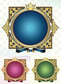 retro-styled ornate frame - three color versions, layered vector artwork