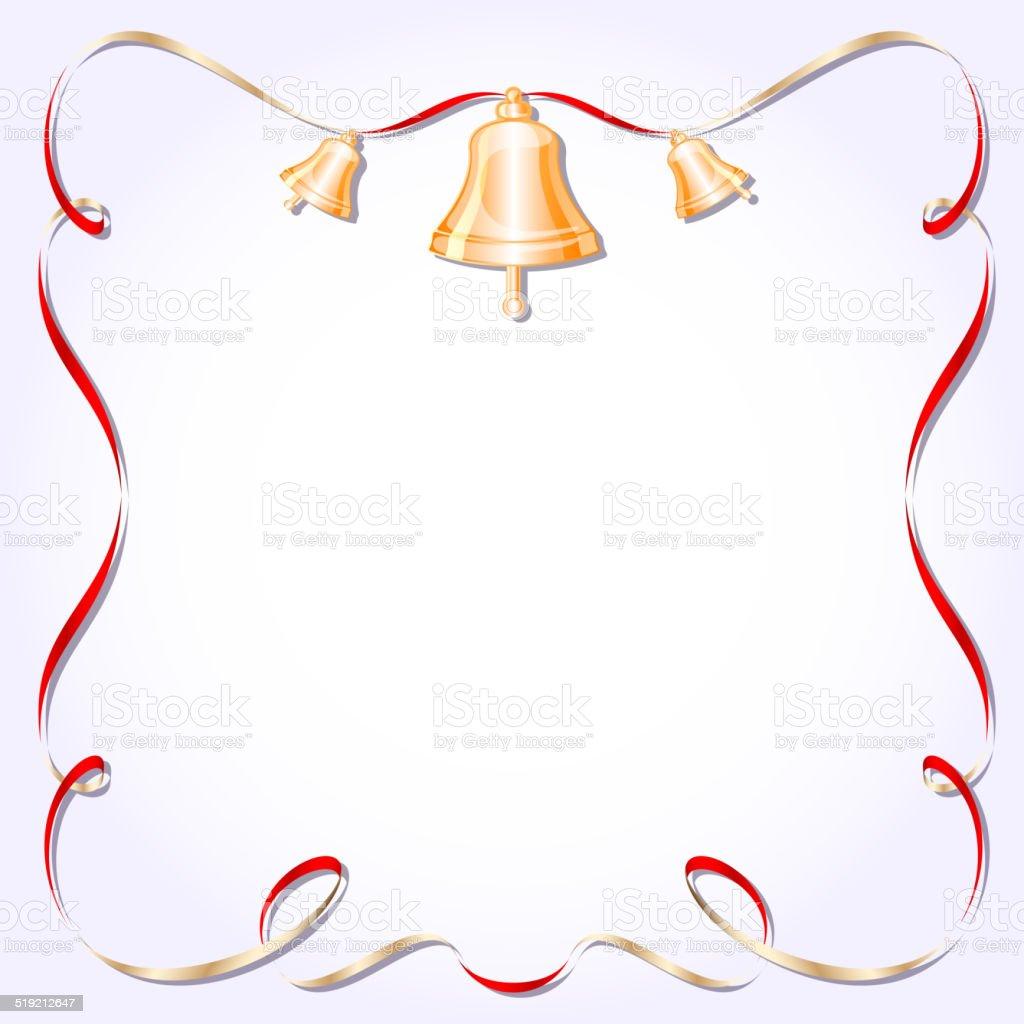 レトロなフレームリボンベクトルイラストの鐘 のイラスト素材