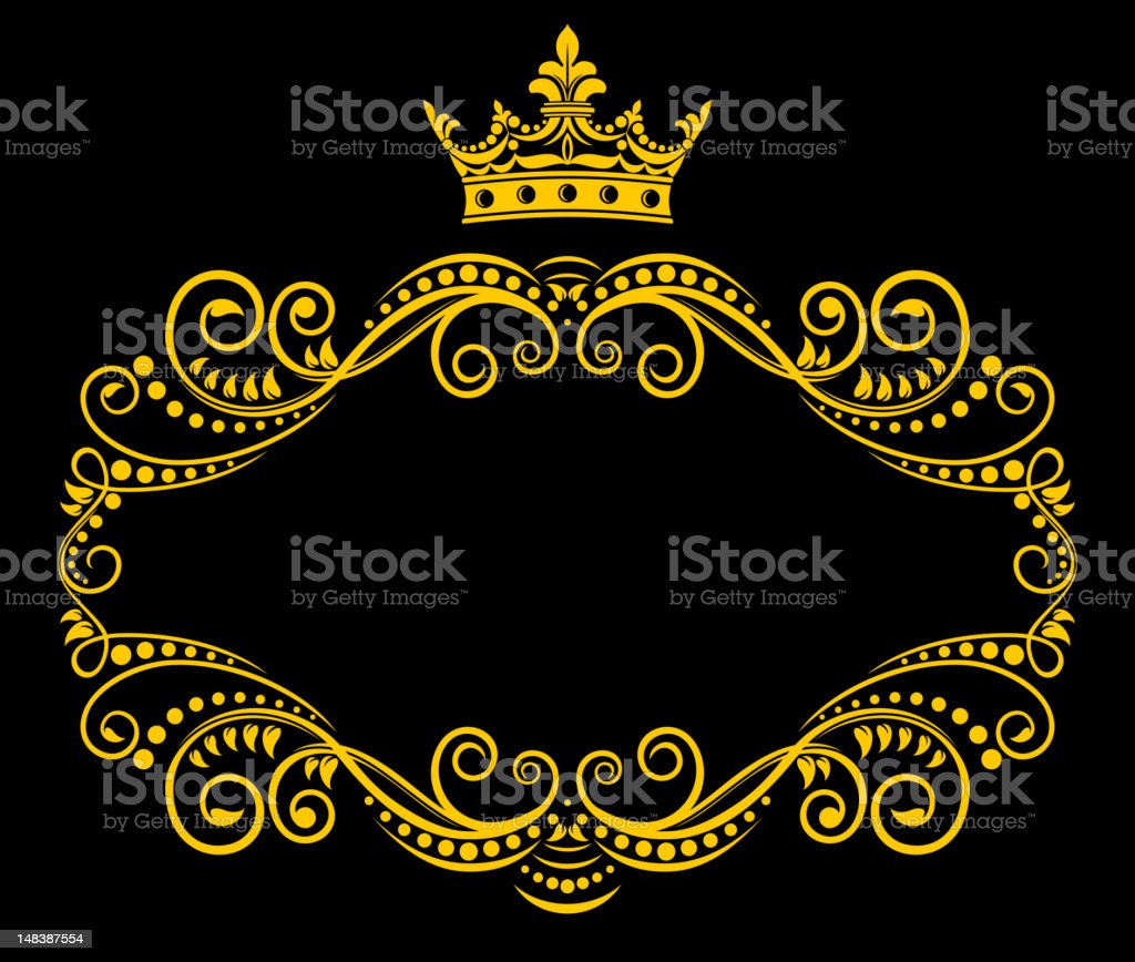 Retro frame with royal crown royalty-free stock vector art