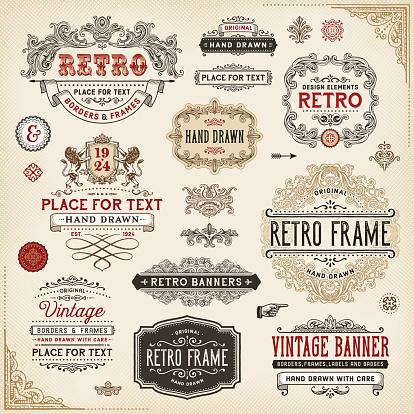 Retro Frames,Labels and Badges
