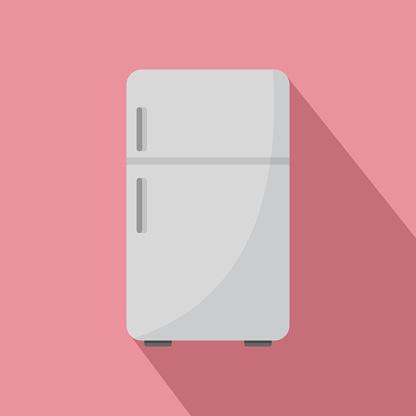 Retro fridge icon, flat style