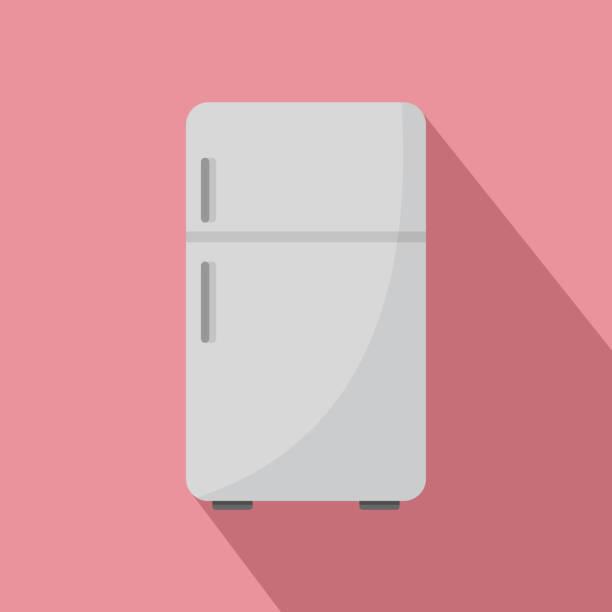 retro-kühlschrank-symbol, flachen stil - kühlschränke stock-grafiken, -clipart, -cartoons und -symbole