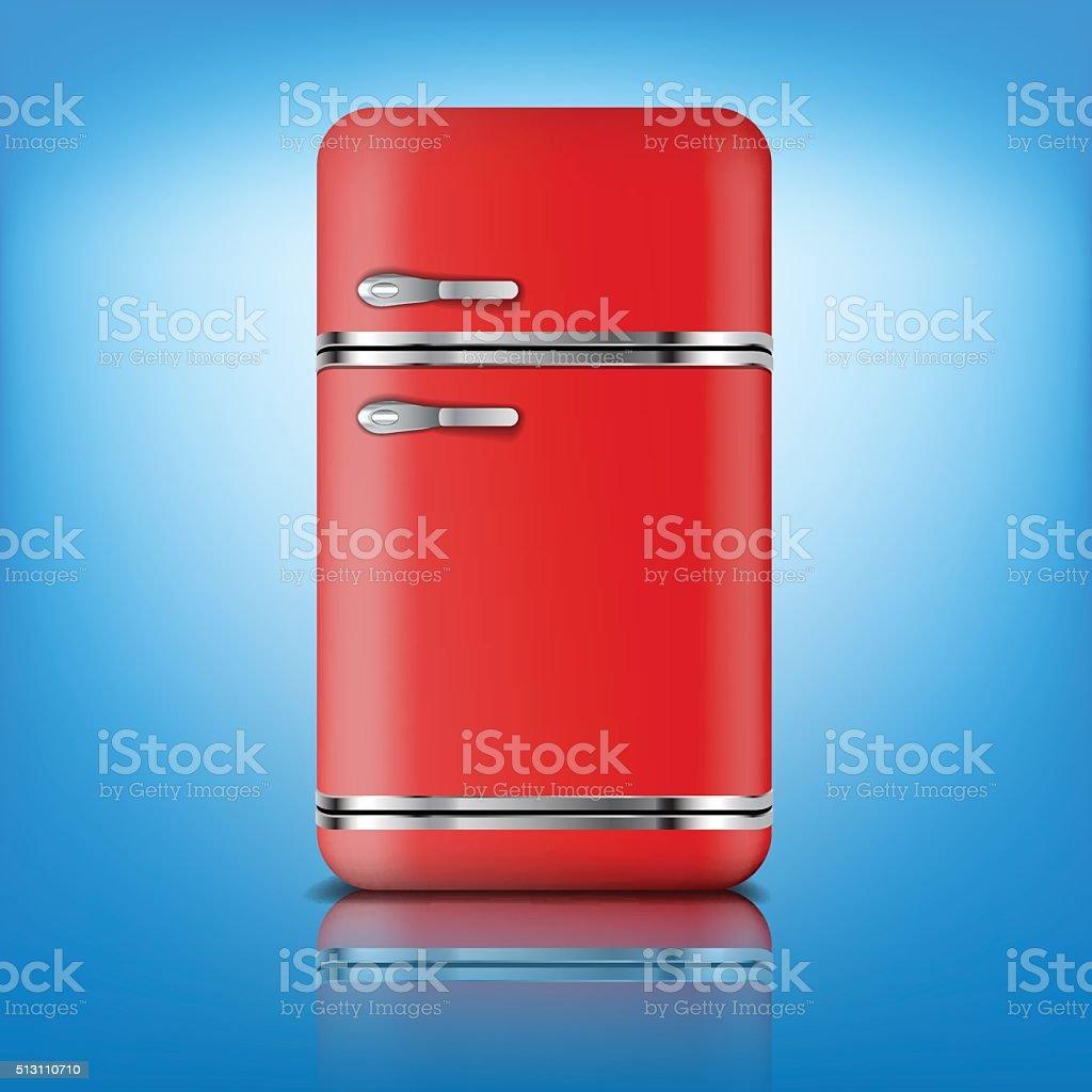 Retro Kühlschrank Und Kühlschrank In Rotretrofarbe Vektor ...