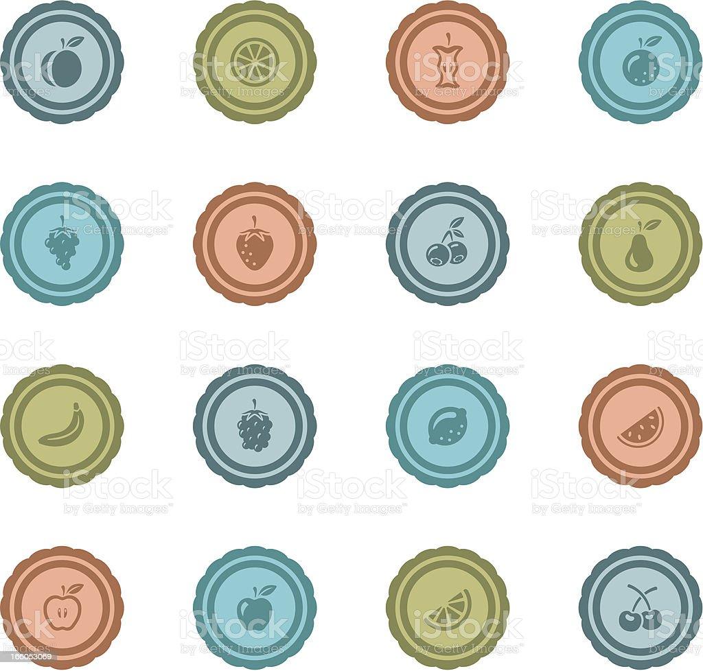 Retro Fruit Badges vector art illustration