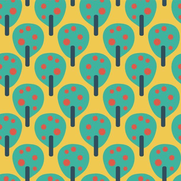retro fruit trees teal red blue mustard yellow - vector seamless pattern vector art illustration