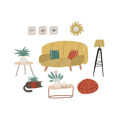 Retro furniture and interior composition in flat style with sofa and armchairs, table and interior accessories, floor lamp and vase isolated on white background. Flat vector illustration