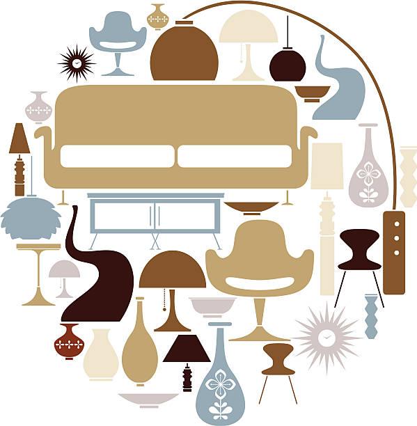 ilustrações de stock, clip art, desenhos animados e ícones de retro conjunto de mobiliário - sideboard