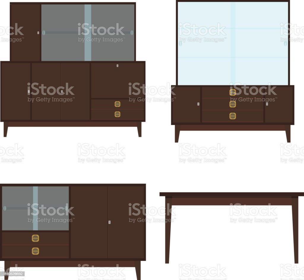 Retro furniture. Sideboard, chest of drawers, bedside table, table. Old furniture vector art illustration
