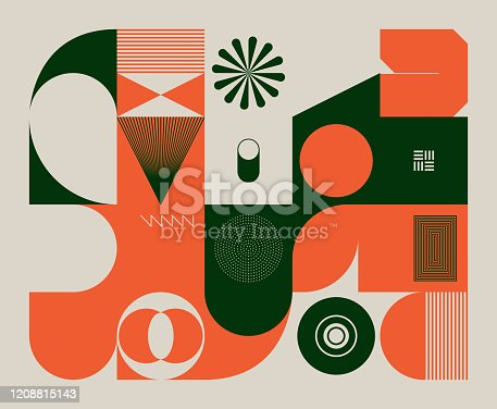 Retro future inspired artwork of vector abstract symbols with bright neon colored geometric shapes, useful for web background, poster art design, magazine front page, hi-tech print, cover artwork.