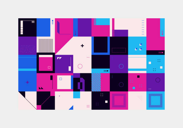 Retro Future Abstract Vector Pattern Retro future inspired artwork of vector abstract symbols with bright neon colored geometric shapes, useful for web background, poster art design, magazine front page, hi-tech print, cover artwork. electro music stock illustrations