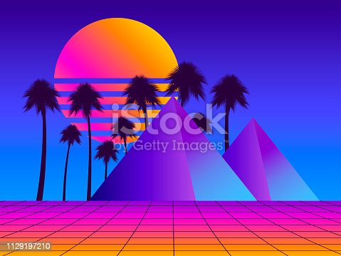 Retro futurism pyramids with palm trees. Perspective grid. Neon sunset. Synthwave retro background. Retrowave. Vector illustration