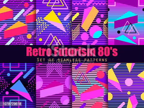 Retro futurism seamless pattern set. Geometric elements  in the style of 80's. Synthwave retro background. Retrowave. Vector illustration