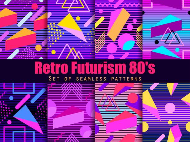 retro-futurismus musterdesign satz. geometrische elemente im stil der 80er jahre. synthwave retro-hintergrund. retrowave. vektor-illustration - landscape crazy stock-grafiken, -clipart, -cartoons und -symbole
