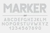 Retro futuristic bold decorative font design, alphabet, typeface