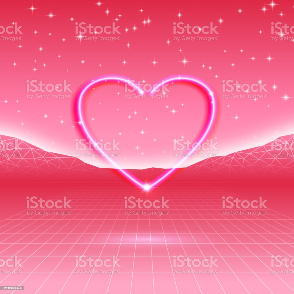 Retro futuristic card with neon heart in computer wor stock vector retro futuristic card with neon heart in computer wor royalty free retro futuristic card with buycottarizona Choice Image