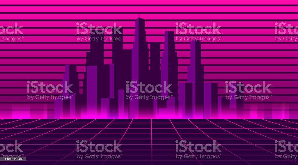 Retro futuristic city in the style of the 80s. Cyberpunk and retro...
