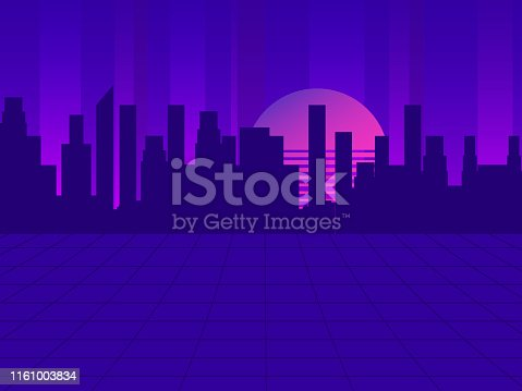 Retro futuristic city in the style of the 80s. Cyberpunk and retro wave style. Cityscape of the future megapolis against the backdrop of the sunset. Vector illustration