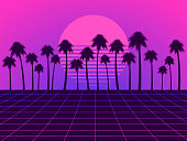 Retro futuristic landscape with palm trees. Neon sunset in the style of 80s. Synthwave retro background. Retrowave. Vector illustration