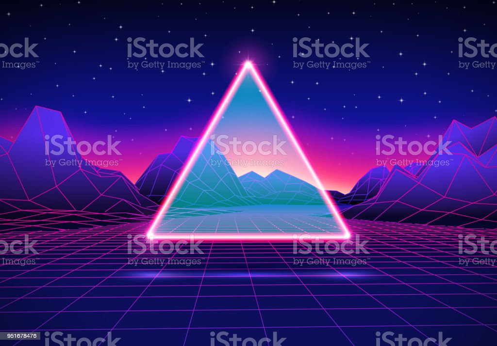 Retro futuristic landscape with triangle and shiny grid vector art illustration