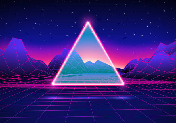 retro futuristic landscape with triangle and shiny grid - miejsce na tekst stock illustrations