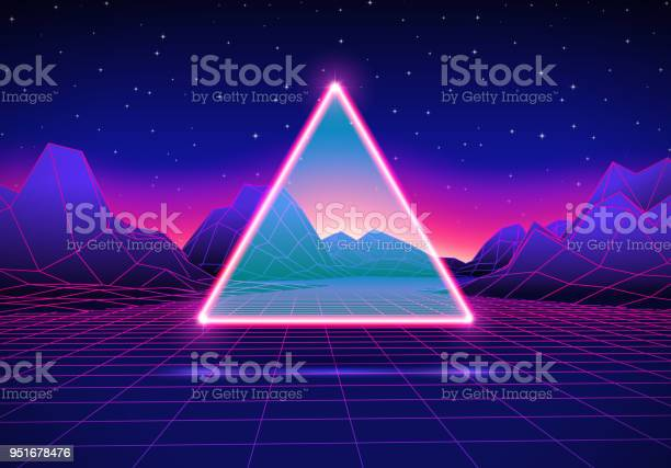 Retro Futuristic Landscape With Triangle And Shiny Grid Stock Illustration - Download Image Now