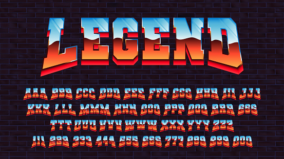 Retro futuristic latin font, vector alphabet 80 x three types of tracing of one symbol, letters and numbers with a metallic effect, retro futurism arcade game typeface
