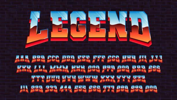 retro futuristische lateinische schrift, vektor alphabet 80 x drei arten der verfolgung eines symbols, buchstaben und zahlen mit einem metallischen effekt, retro futurismus arcade spiel schrift - punk stock-grafiken, -clipart, -cartoons und -symbole