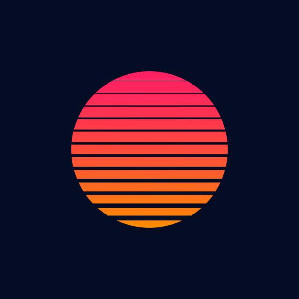 retro futurystyczny plakat księżycowy lub ulotka w stylu lat 80. 80-tych lub 90-tych modny vintage księżyc pokrojone. - zachód słońca stock illustrations
