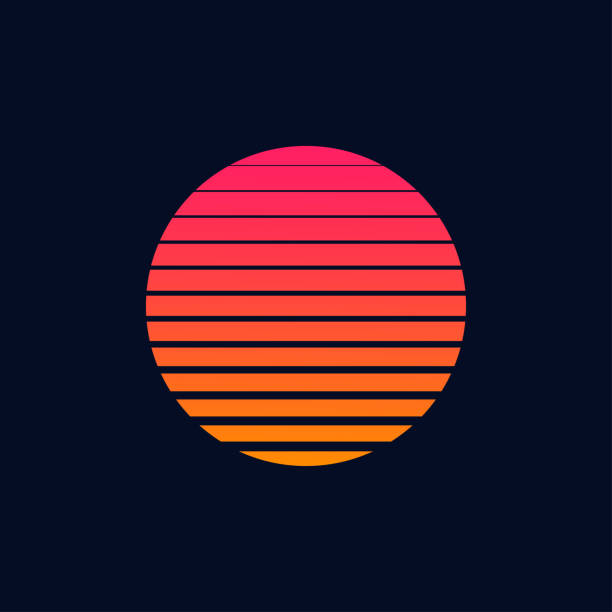 ilustrações de stock, clip art, desenhos animados e ícones de retro futuristic moon poster or flyer 1980s style. 80s or 90s trendy vintage moon sliced. - sunset