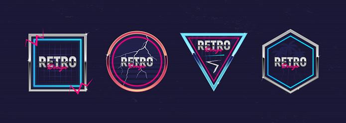 Retro futuristic neon frames. Outrun design elements. Hipster design. Retro 80's logos set for Night club, music album, invitation, banner, poster, cover. Print for t-shirt, tee. Vector illustration