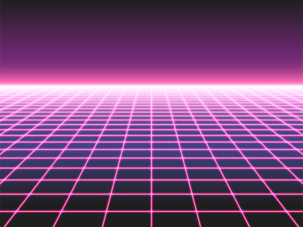 Retro futuristic neon grid background, 80s design perspective distorted plane landscape composed of crossed neon lights or laser beams Retro futuristic neon grid background, 80s design perspective distorted plane landscape composed of crossed neon lights ol laser beams, synthwave or retro wave styled vector illustration computer games stock illustrations