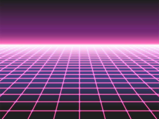 retro futuristik neon ızgara arka plan, 80s tasarım perspektifi bozuk düzlem manzara çapraz neon ışıklar veya lazer kirişler oluşan - gaming stock illustrations