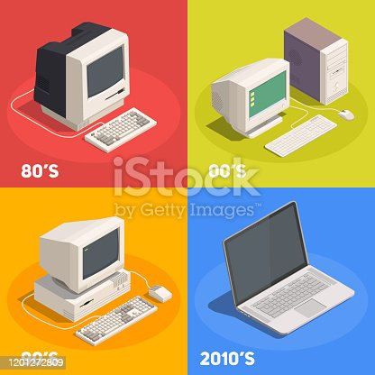 Retro gadgets 2x2 isometric design concept with computer evolution 3d isolated vector illustration