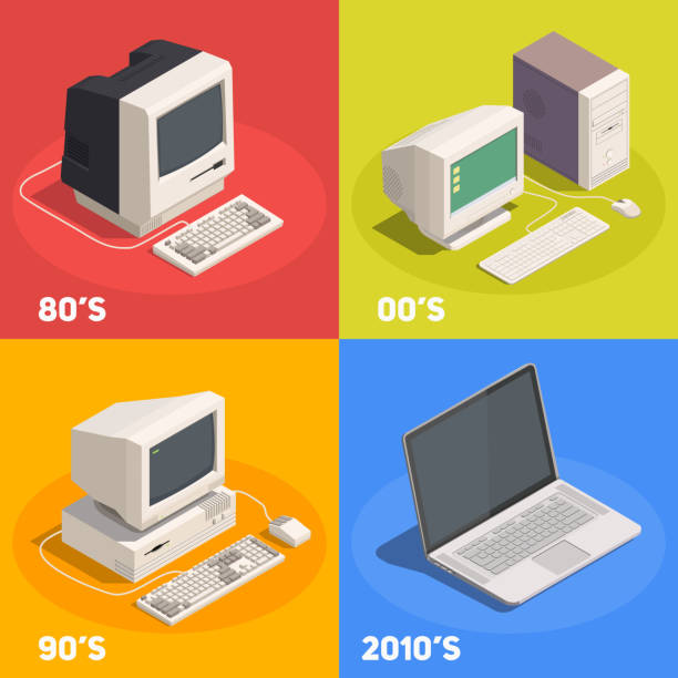 Retro-Gadgets Geräte isometrische Zusammensetzung – Vektorgrafik