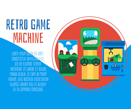 Retro game machine banner for gaming centre or club flat vector illustration.