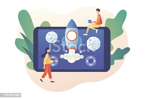 Retro game online. Tiny people playing video game with rocket and asteroids using laptop, smartphone and tablets. Modern flat cartoon style. Vector illustration