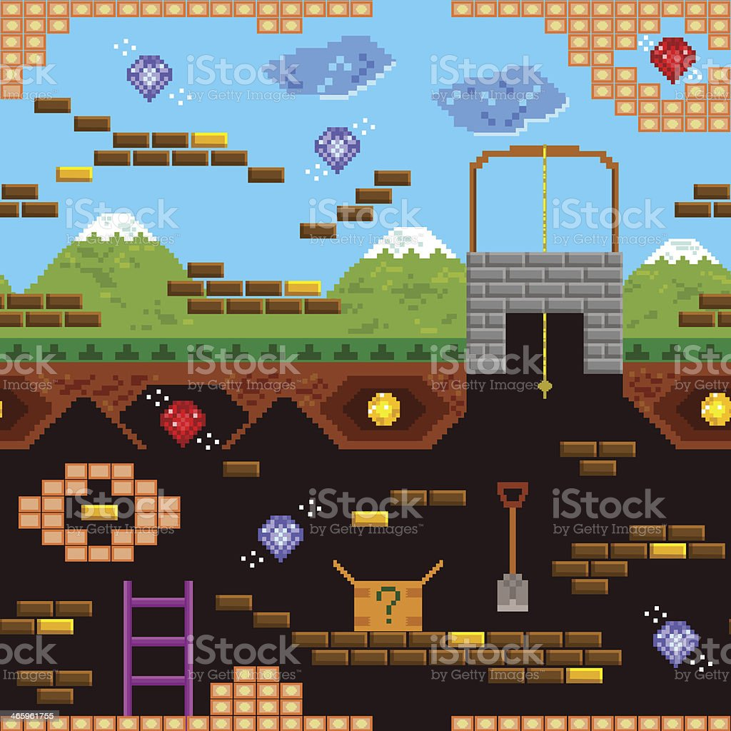 retro game pattern vector art illustration