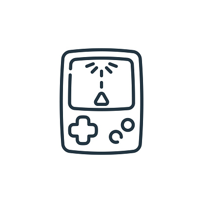 retro game vector icon. retro game editable stroke. retro game linear symbol for use on web and mobile apps, logo, print media. Thin line illustration. Vector isolated outline drawing.