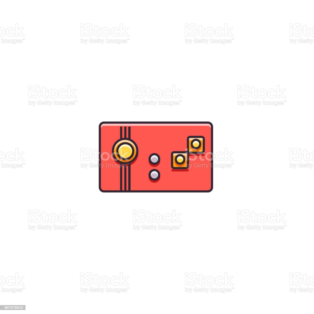 Retro Gaming Controller With Mini Joystick And Buttons Flat Color