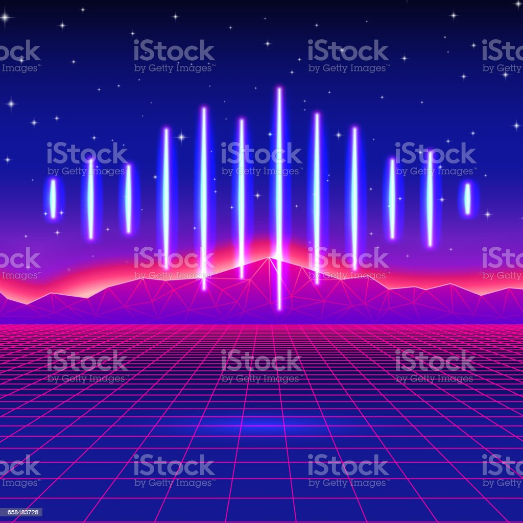 Retro gaming neon background with shiny music wave vector art illustration
