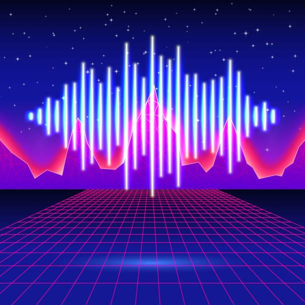 retro-gaming neon hintergrund mit glänzenden musik wave - edm stock-grafiken, -clipart, -cartoons und -symbole