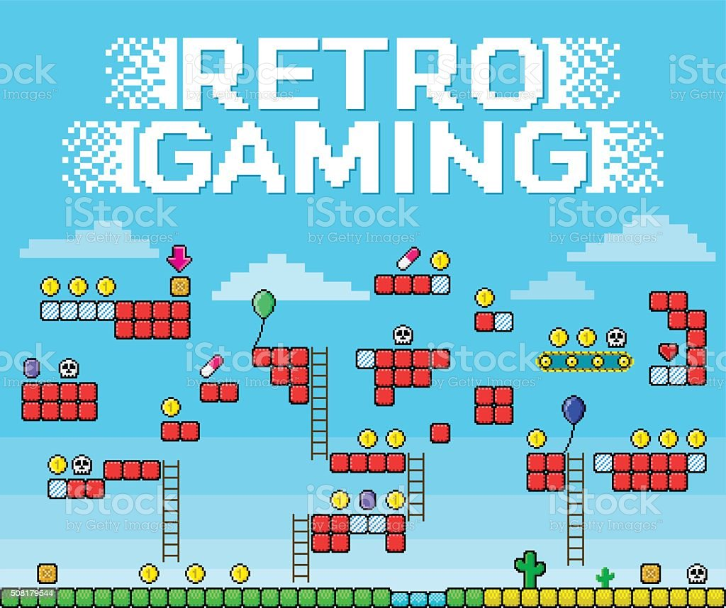 Retro Gaming - Pixelated Platformer vector art illustration