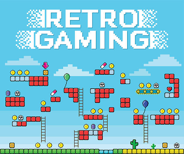 Retro Gaming - Pixelated Platformer Retro gaming background for a 2D platformer game in pixelated style, powerups included. video game stock illustrations