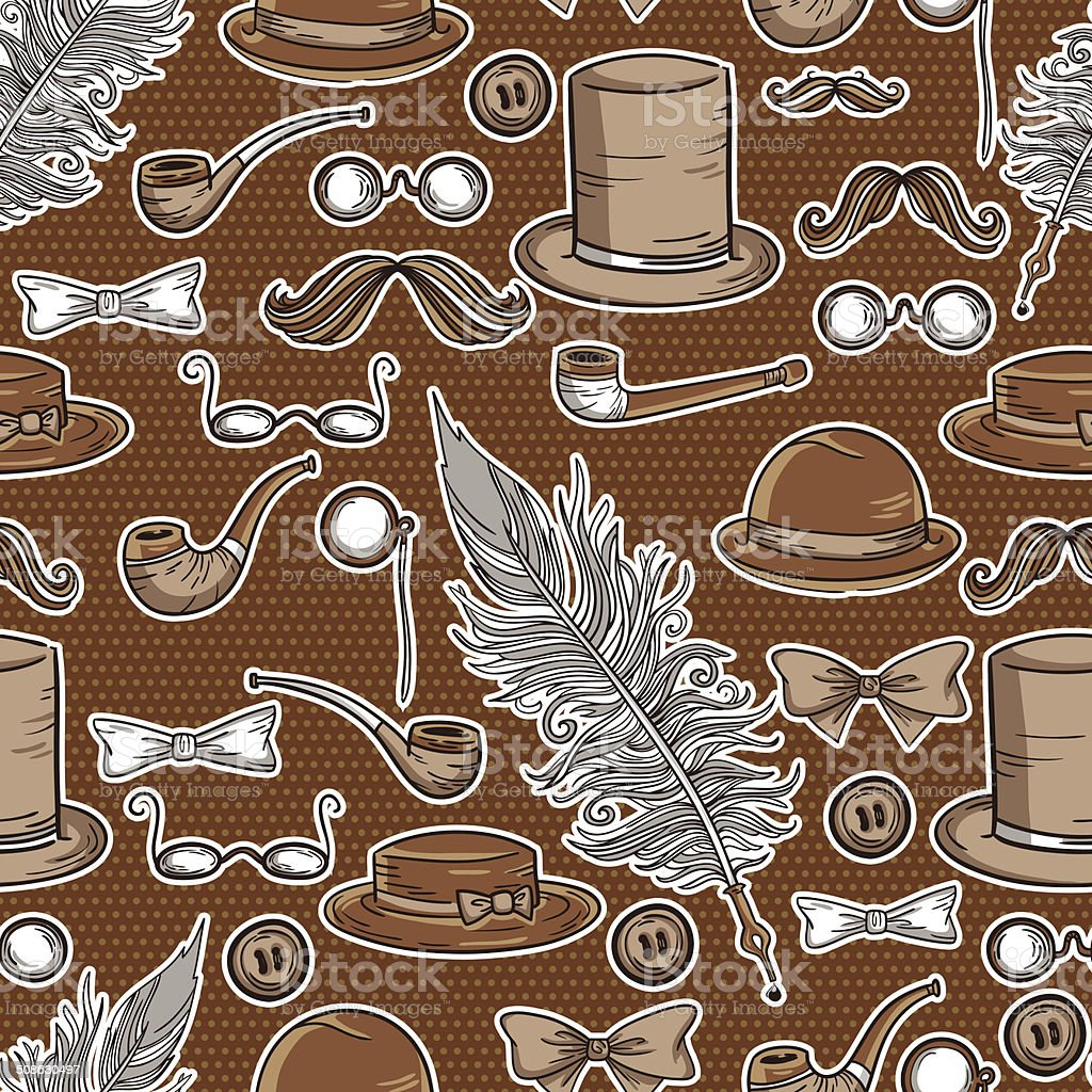 Retro gentleman elements pattern royalty-free retro gentleman elements pattern stock vector art & more images of adult