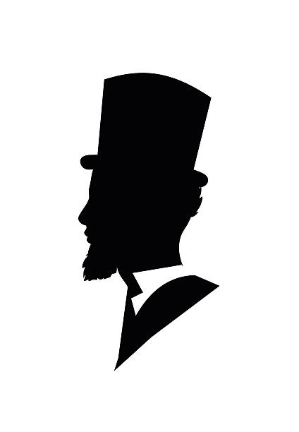 retro gentleman face profile shape vector illustration - old man pic pictures stock illustrations, clip art, cartoons, & icons