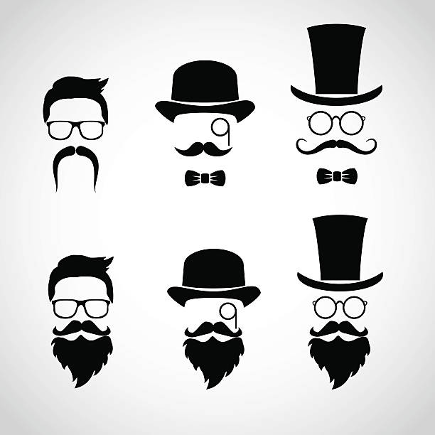 retro gentleman icon set. - old man face silhouettes stock illustrations, clip art, cartoons, & icons