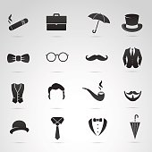 Retro gentleman icon set.