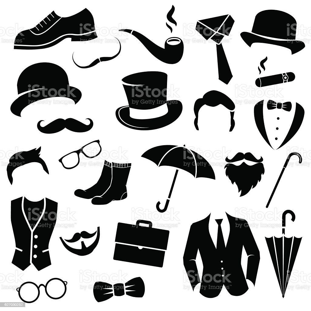 Retro gentleman icon set. vector art illustration